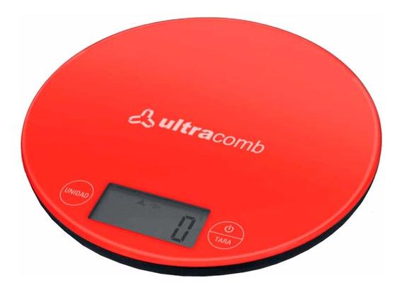 Balanza De Cocina Ultracomb Bl-6001 Led 3kg De Vidrio Pce