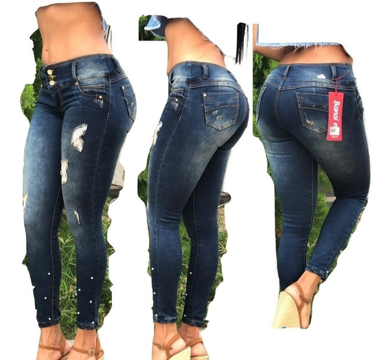 Jeans Pantalon De Dama Con Rotos Studio Femenino