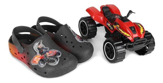 Sandalia Babuche Infantil Masculino + Brinquedo Pé Com Pé