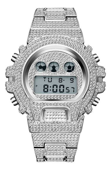 Relógio Masculino Cravejado Relogios Diamantes Sintéticos