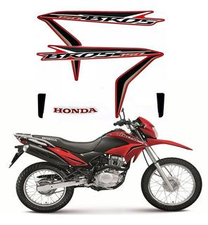 Kit Adesivo Faixas Moto Honda Bros 150 2014 Es Esd Vermelha