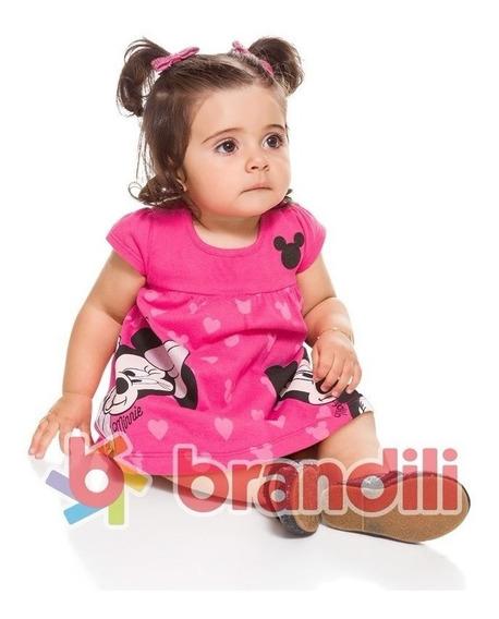 Vestido Bebê Brandili Mickey E Minnie Imperdível Cód: 786