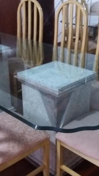 Mesa Elegante Em Vidro/cristal Com Base Em Marmore