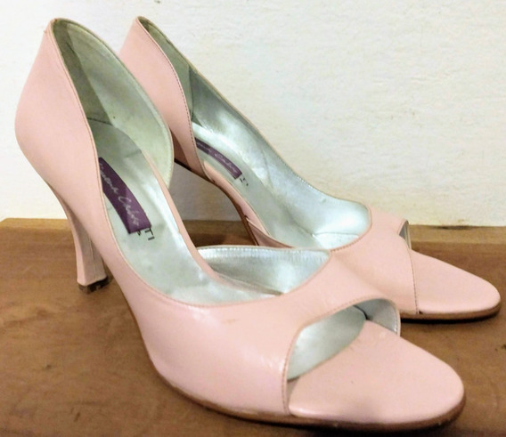 Zapato De Cuero Rosa Taco Alto