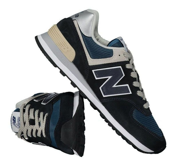 Tênis New Balance 574 Marinho E Bege