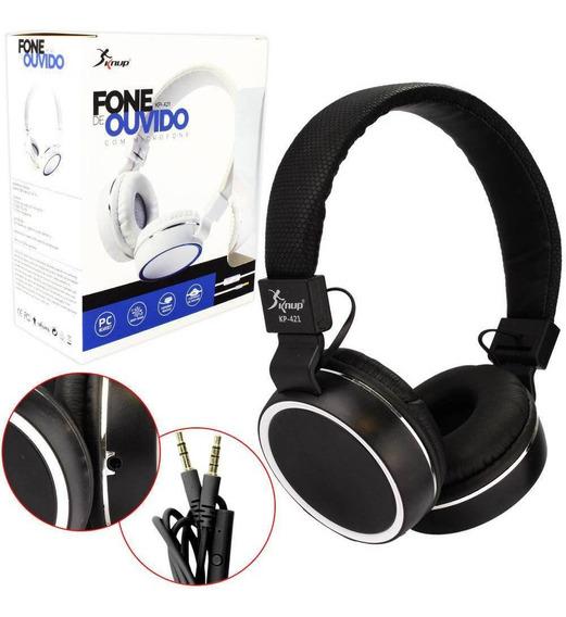 Fone De Ouvido Headphone Com Microfone Kp-421 Knup Preto
