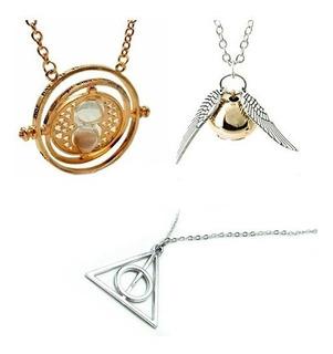 3 Collares Giratiempo Reliquias Snitch - Oferta Harry Potter