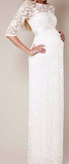 Vestido Noiva Gestante Manga Renda Simples Casamento Vrl163