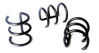 12 Falsos Helix Triple Negros -sin Perforacion - Acero Aros
