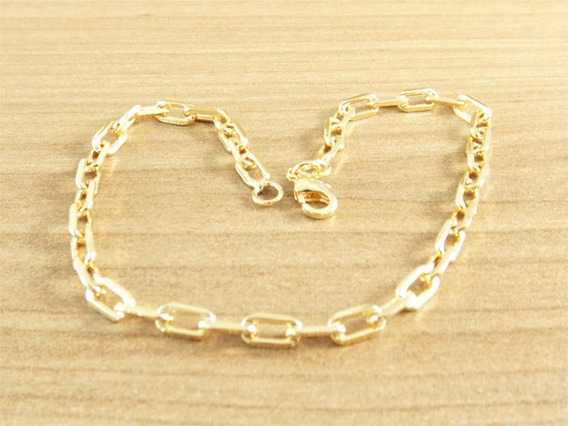Pulseira Masculina Bracelete 20cm 3,5mm Banhada Á Ouro