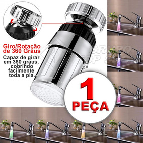 Torneira 360° Luz Colorida Bico De Led Iluminacao Cores 22mm