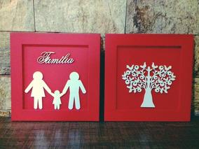 Kit Quadro Decorativo Familia Amor Arvore Vida Promoção