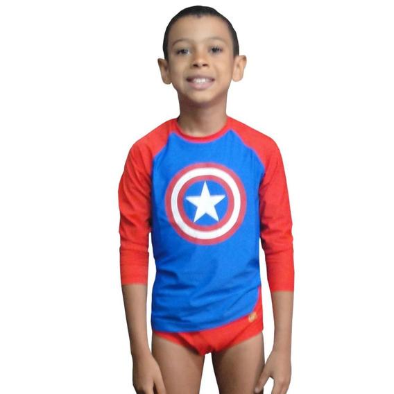 Camiseta Raglan + Sunga C América Com Proteção Solar Uv 50+