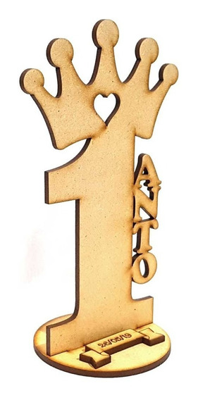 20 Souvenirs Con Corona Edad Nombre Fecha En Fibrofacil 15cm