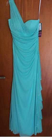 Vestido De Fiesta Color Aqua Importado De Usa Noche