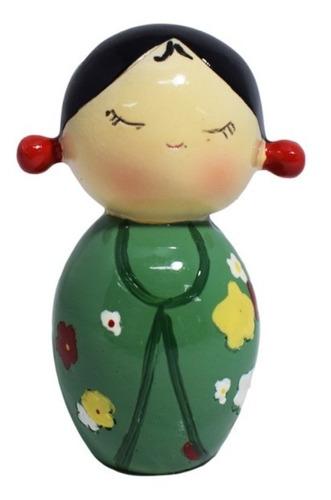 Kokeshi Muñeca Japonesa De Madera Verde 7,5cm Varios Modelos