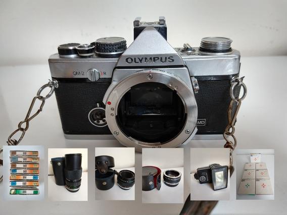 Câmera Olympus Om-2 Analógica+lentes+ 7 Filtros Hoya Collor