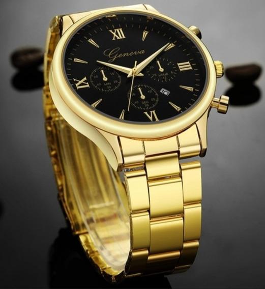 Relógio Geneva Masculino + Caixa De Acrílico C/ Almofada