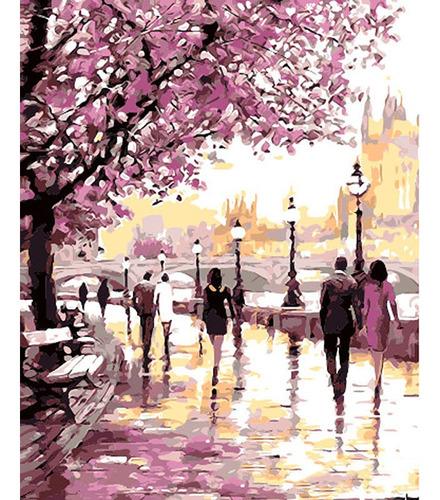 Pintura Numerada Passeio Cerejeiras Abstrato_p2