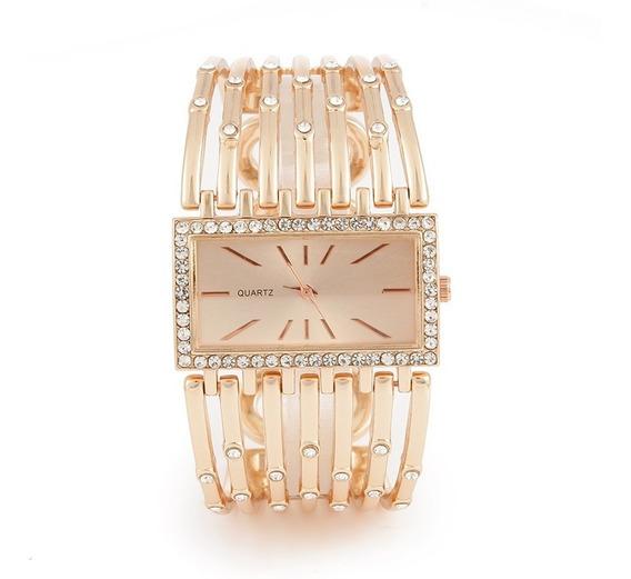 Relógio Feminino Rose Bracelete Com Pedraria Dourado
