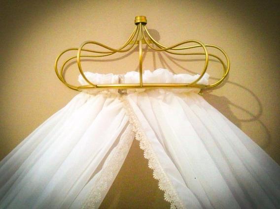 Dossel Coroa Parede + Cortinado Mosquiteiro Veu Off White