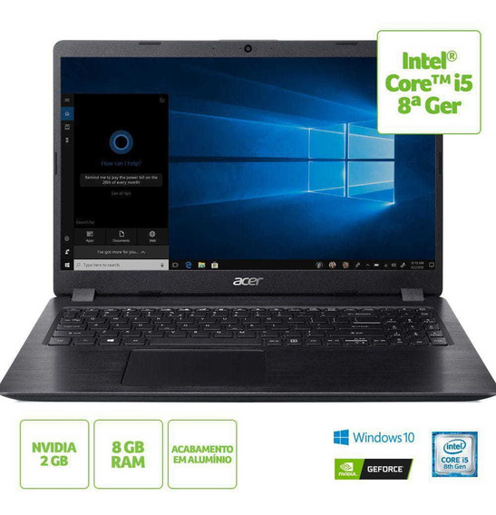Notebook Acer 15,6 A515-52g-58lz I5 8265u / 8gb/ 1tb/ W10 S