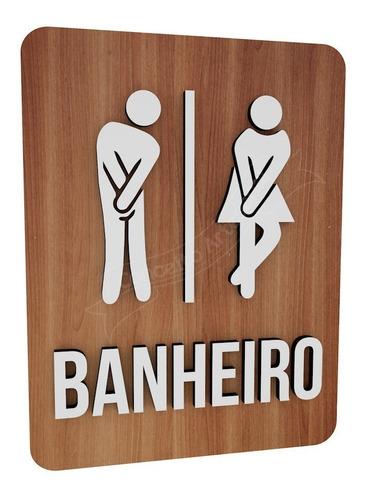 Imagem 1 de 3 de Placa Informativa Banheiro Unissex Bonequinho Restaurante