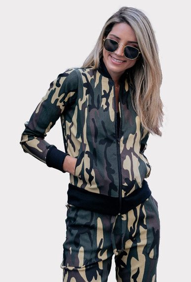 Jaqueta Bomber Militar Feminina Camuflado Casaco Inverno