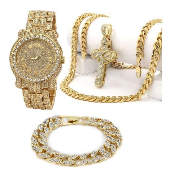 Reloj Techno Pave Collar Cruz Y Brasalete Laminados Oro 14k