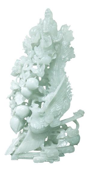 Figura De Jade Verde Japonesa, Tallada A Mano Artesanal 32cm