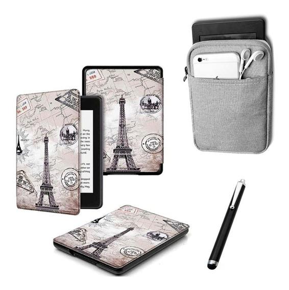 Capa Case Novo Kindle 10ª Geração - Paris + Bolsa Cinza