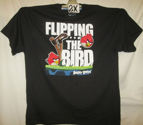 Camiseta Casual Negra Talla 2 X Angry Bird
