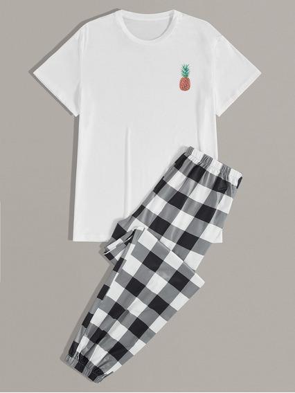 Conjunto De Pijama De Hombres Camiseta Con Estampado De Pina