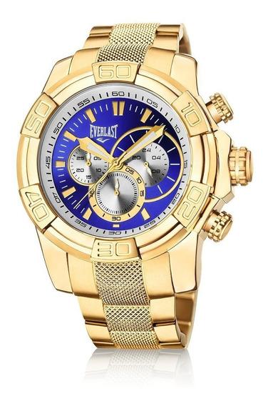Relógio Pulso Everlast Masculino Cronografo Aço Dourado E647