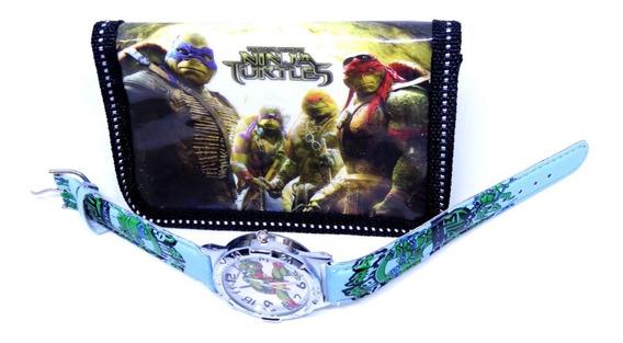 Relógio Tartarugas Ninjas Analógico + Carteira Personalizada