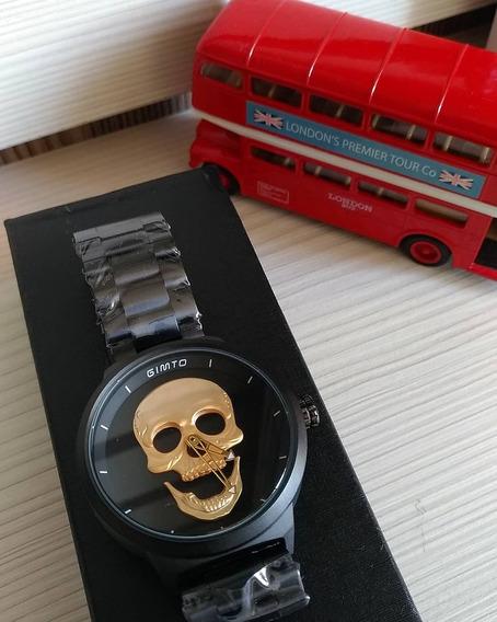 Relógio Masculino Skull 3d Caveira Cranio Pronta Entrega