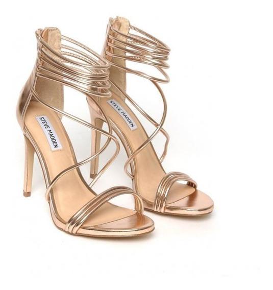 Zapatos Zapatillas Tacones Steve Madden Answer Oro Rosado