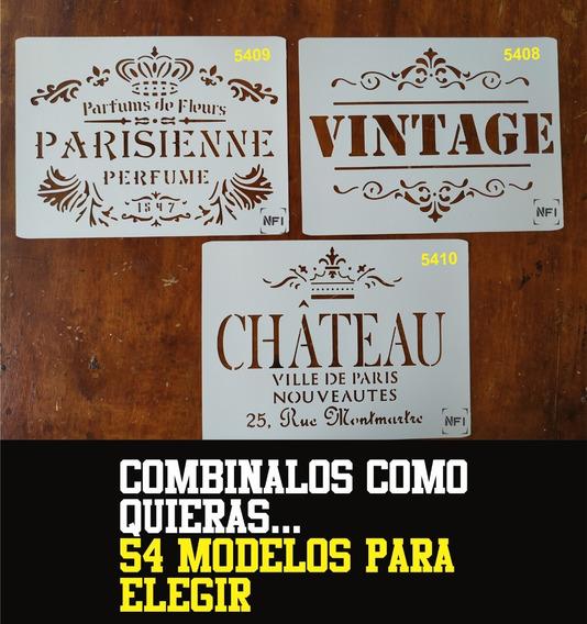 Stencil Vintage Logo Frases Hojas Navidad 21x29 Combo X 4u