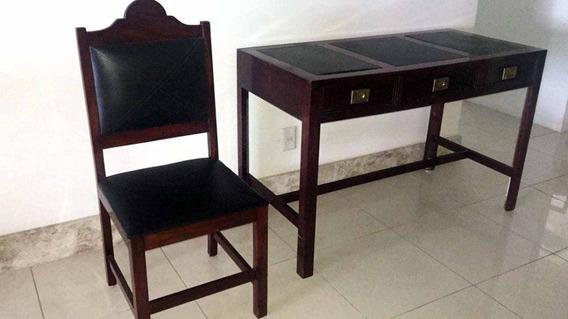 Mesa Vintage Em Madeira De Lei Para Escritório + Cadeira