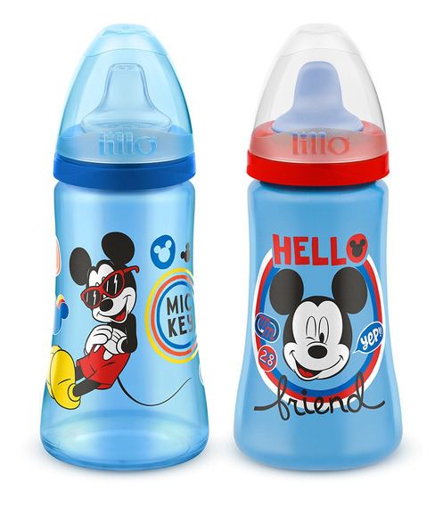 Kit 2 Copos Colors Bico De Silicone Mickey Disney Azul Lillo
