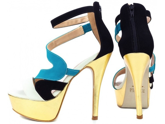 Sapato, Sandália Feminino Salto Alto Meia Pata Elegance