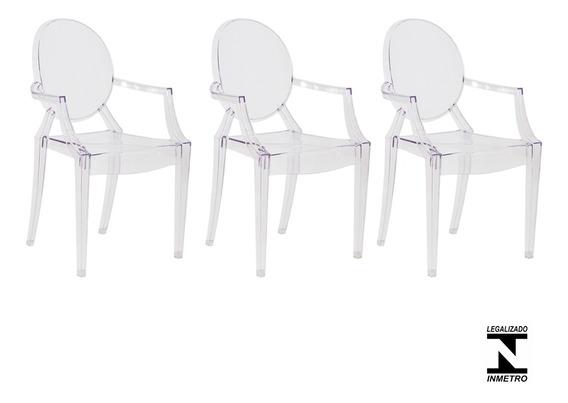 Kit 3 Cadeiras Cozinha Jantar Policarbonato