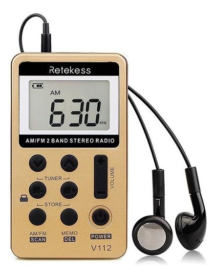 Mini Rádio De Bolso Digital Retekess V-112 Am/fm Importado