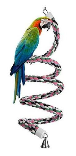 Aigou Bird Cuerda Espiral Perch Cotton Parrot Swing Escalada