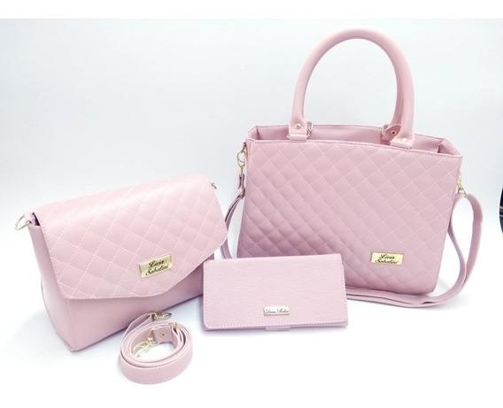 Bolsa Feminina Kit Com 3 Bolsas Grande Pequena Bau Carteira
