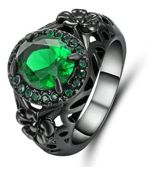 Anel Feminino Flor Humor Alegria Pedra Verde Esmeralda 104