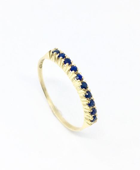 Meia Aliança De Safira Azul Natural Em Ouro 18k