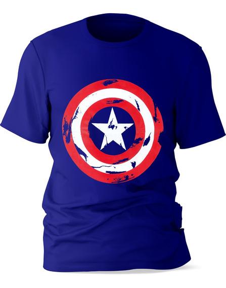 Playera Niño Manga Corta Diseño Capitán América Algodón