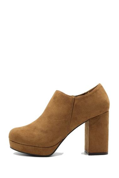 Zapato Mujer Cuero Pu Gamuzado Suela Taco Palo Leblu Z128