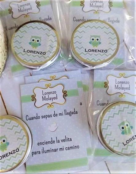 Souvenir Velas Lata Personalizada + Estampitas 10 Combos